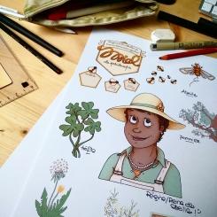 Planche illustrée pour la conception d'étiquette pour pot de miel - illustration sur commande ©2016