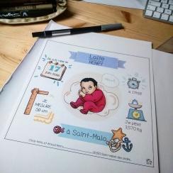 Faire-part de naissance - Illustration et conception graphique ©2016