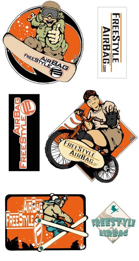 PLANCHE DE STICKERS - Illustration et conception graphique - Entreprise airbag Freestyle - ©2015