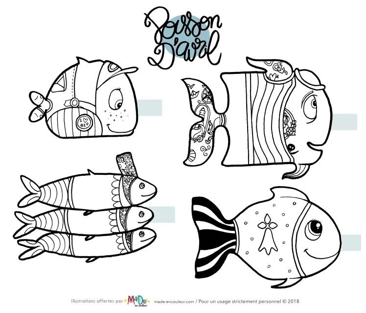 Poissons d'Avril à colorier - FreePrintable - MaDe en couleur le blog